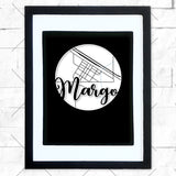 Close-up of Margo hometown map design in black shadowbox frame with white matte