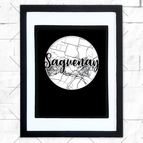 Close-up of Saguenay hometown map design in black shadowbox frame with white matte