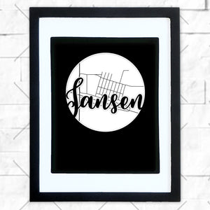 Close-up of Jansen hometown map design in black shadowbox frame with white matte