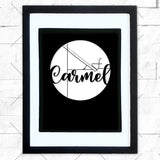 Close-up of Carmel hometown map design in black shadowbox frame with white matte