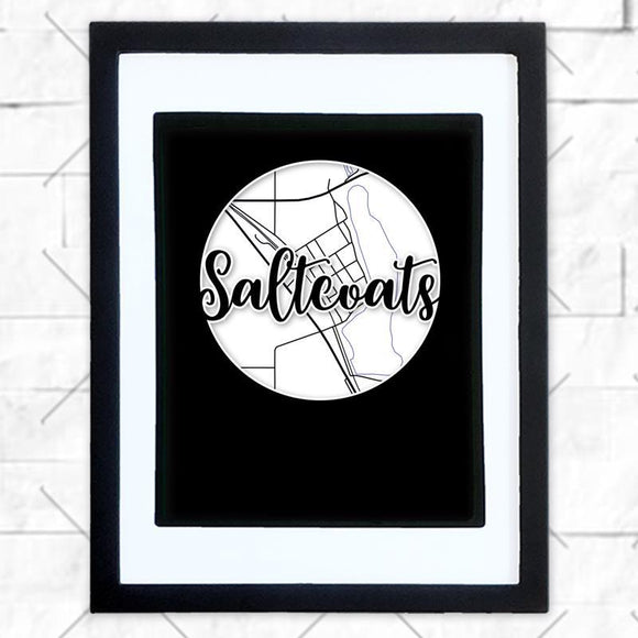 Close-up of Saltcoats hometown map design in black shadowbox frame with white matte