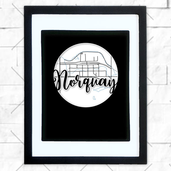 Close-up of Norquay hometown map design in black shadowbox frame with white matte