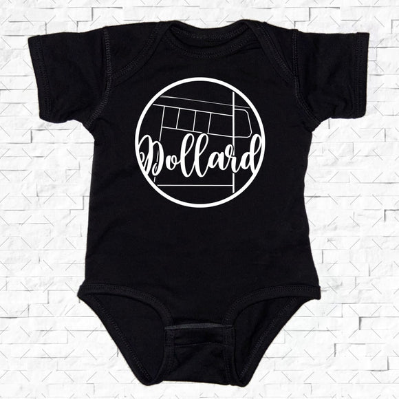 baby-sized black short-sleeved onesie with Dollard hometown map design