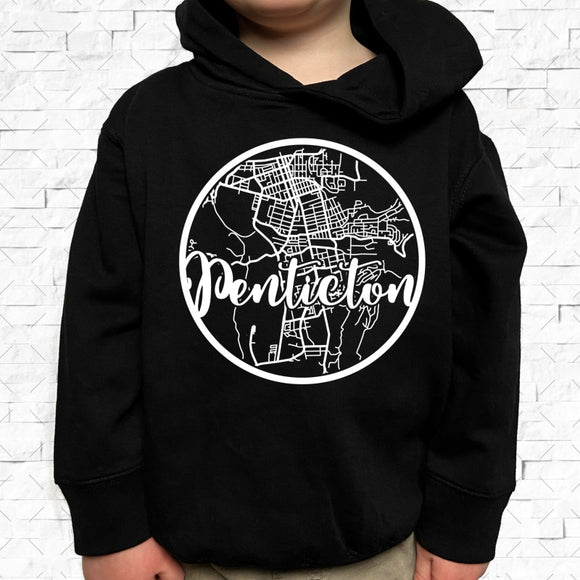 toddler-sized black hoodie with Penticton hometown map design