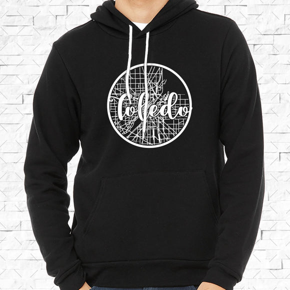 adult-sized black hoodie with white Toledo hometown map design