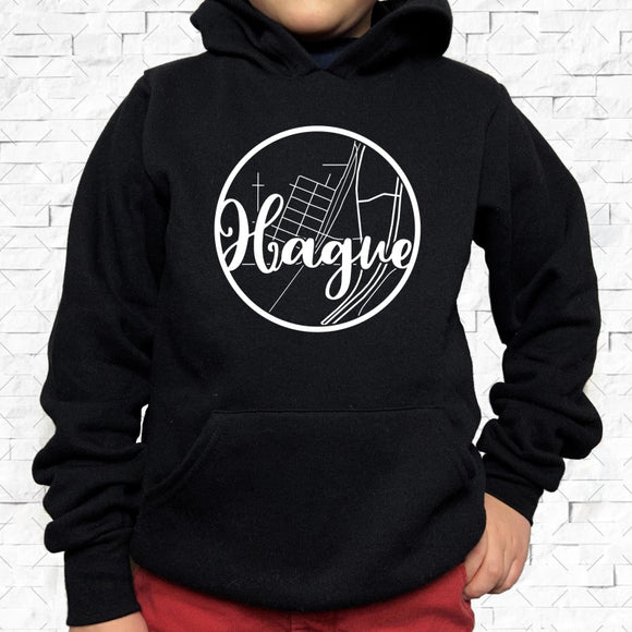 youth-sized black hoodie with white Hague hometown map design
