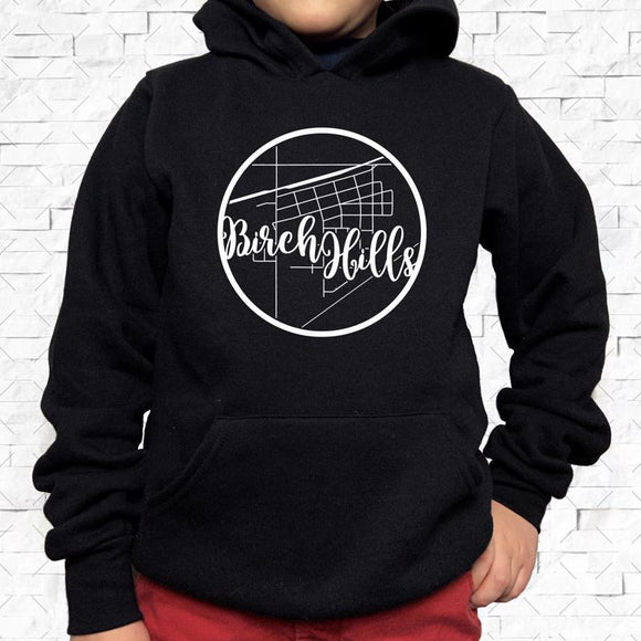 youth-sized black hoodie with white Birch Hills hometown map design