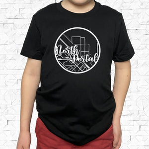 youth-sized black short-sleeved shirt with white North Portal hometown map design