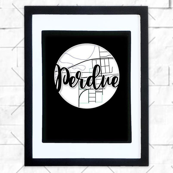 Close-up of Perdue hometown map design in black shadowbox frame with white matte