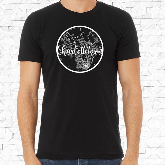 adult-sized black short-sleeved shirt with white Charlottetown hometown map design
