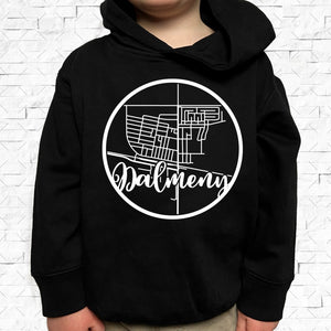 toddler-sized black hoodie with Dalmeny hometown map design