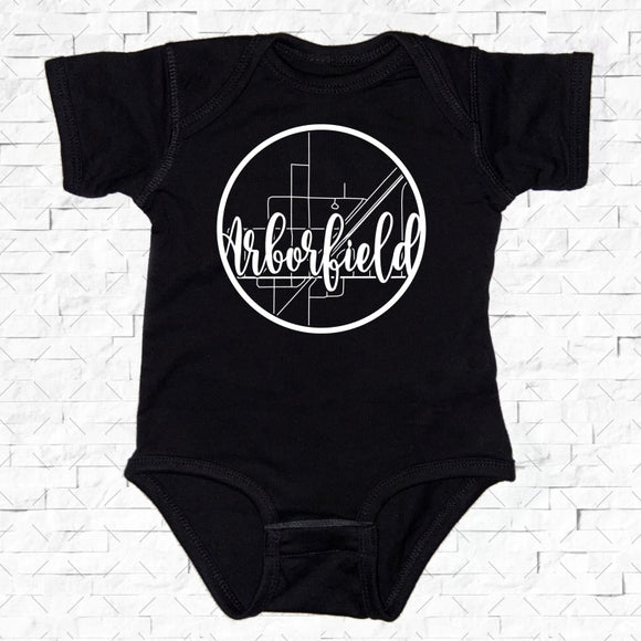 baby-sized black short-sleeved onesie with Arborfield hometown map design