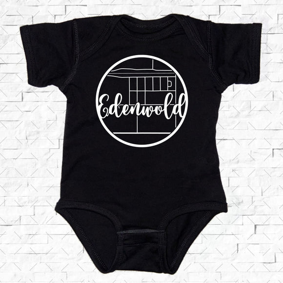 baby-sized black short-sleeved onesie with Edenwold hometown map design