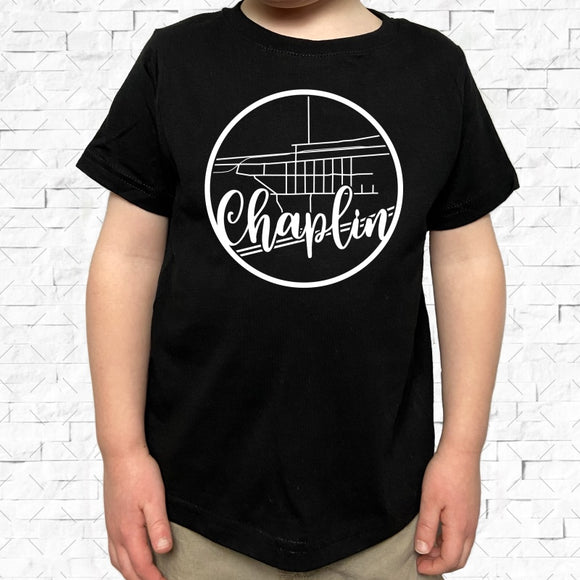 toddler-sized black short-sleeved shirt with white Chaplin hometown map design