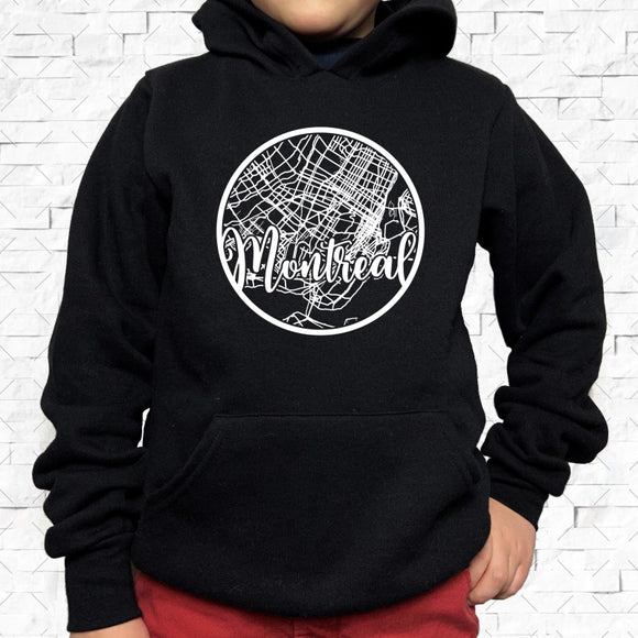 youth-sized black hoodie with white Montreal hometown map design