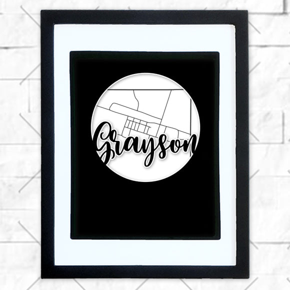 Close-up of Grayson hometown map design in black shadowbox frame with white matte