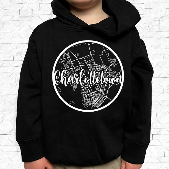 toddler-sized black hoodie with Charlottetown hometown map design