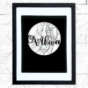 Close-up of Or Akiva hometown map design in black shadowbox frame with white matte