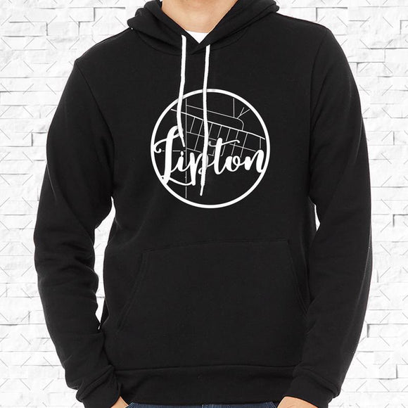 adult-sized black hoodie with white Lipton hometown map design
