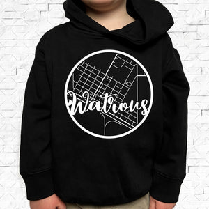 toddler-sized black hoodie with Watrous hometown map design
