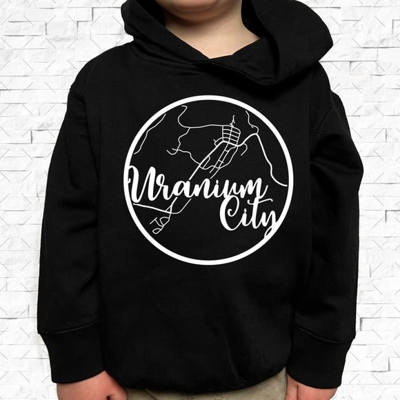 toddler-sized black hoodie with Uranium City hometown map design