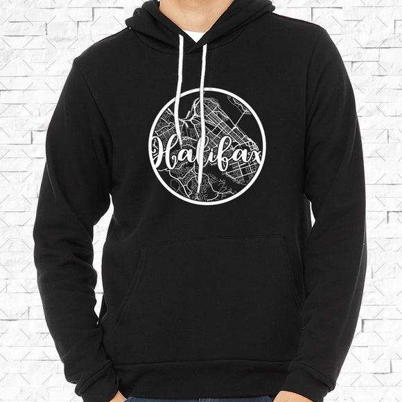 adult-sized black hoodie with white Halifax hometown map design
