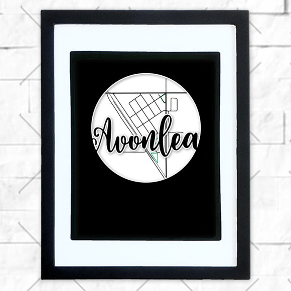 Close-up of Avonlea hometown map design in black shadowbox frame with white matte