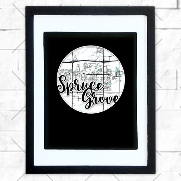 Close-up of Spruce Grove hometown map design in black shadowbox frame with white matte