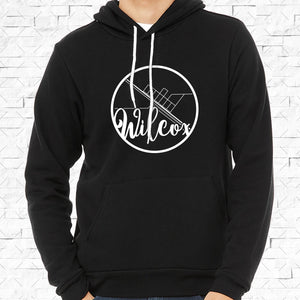 adult-sized black hoodie with white Wilcox hometown map design