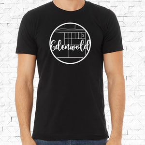 adult-sized black short-sleeved shirt with white Edenwold hometown map design