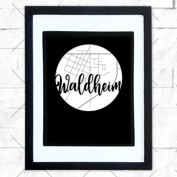 Close-up of Waldheim hometown map design in black shadowbox frame with white matte