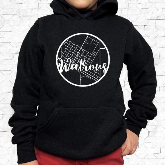 youth-sized black hoodie with white Watrous hometown map design