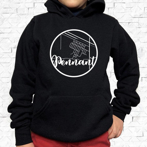 youth-sized black hoodie with white Pennant hometown map design
