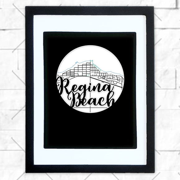 Close-up of Regina Beach hometown map design in black shadowbox frame with white matte