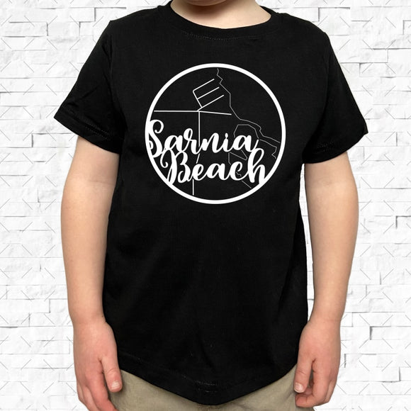 toddler-sized black short-sleeved shirt with white Sarnia Beach hometown map design