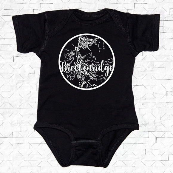 baby-sized black short-sleeved onesie with Breckenridge hometown map design