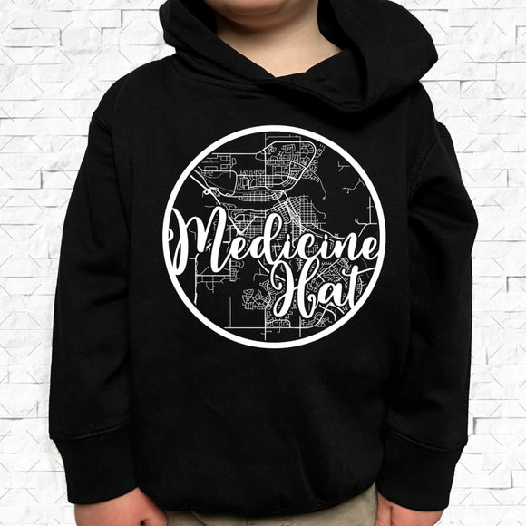 toddler-sized black hoodie with Medicine Hat hometown map design