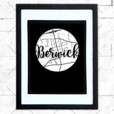 Close-up of Berwick hometown map design in black shadowbox frame with white matte