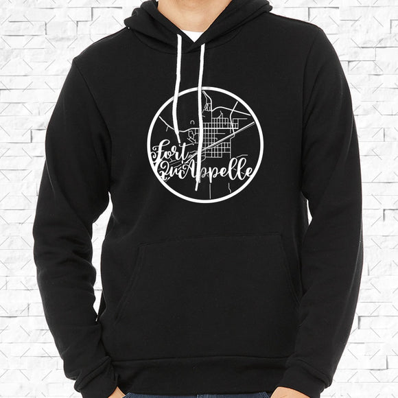adult-sized black hoodie with white Fort Quappelle hometown map design