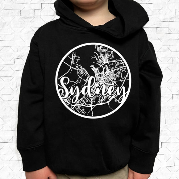 toddler-sized black hoodie with Sydney hometown map design