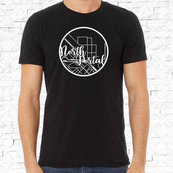 adult-sized black short-sleeved shirt with white North Portal hometown map design