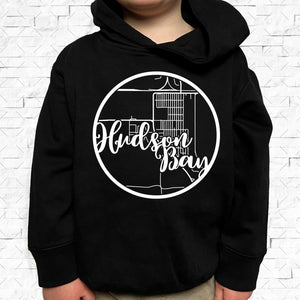 toddler-sized black hoodie with Hudson Bay hometown map design