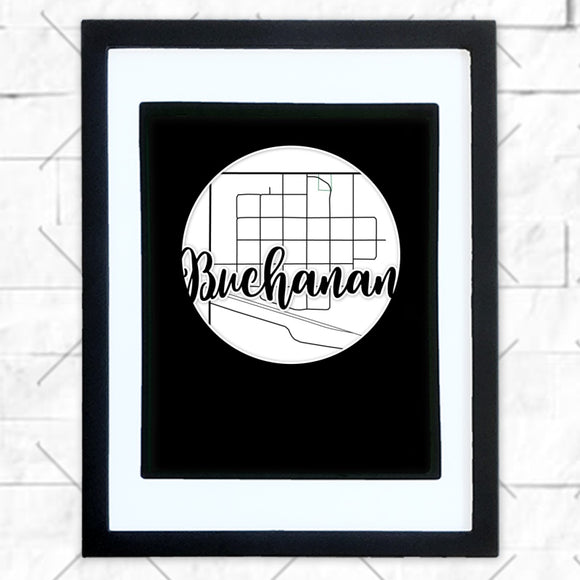 Close-up of Buchanan hometown map design in black shadowbox frame with white matte