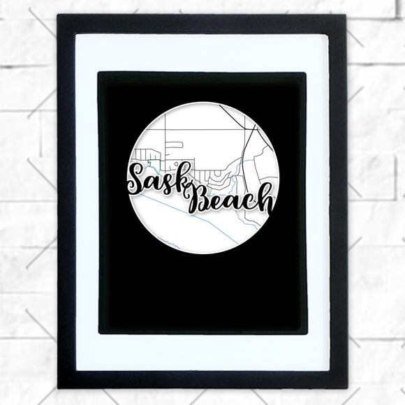 Close-up of Sask Beach hometown map design in black shadowbox frame with white matte