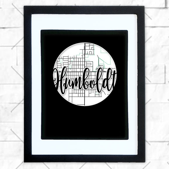 Close-up of Humboldt hometown map design in black shadowbox frame with white matte