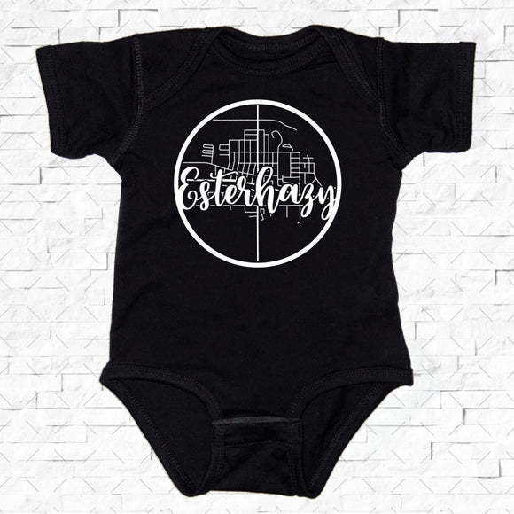 baby-sized black short-sleeved onesie with Esterhazy hometown map design