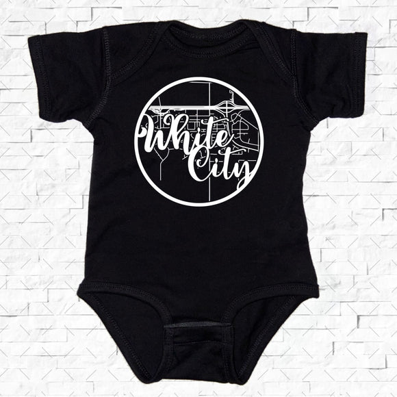 baby-sized black short-sleeved onesie with White City hometown map design