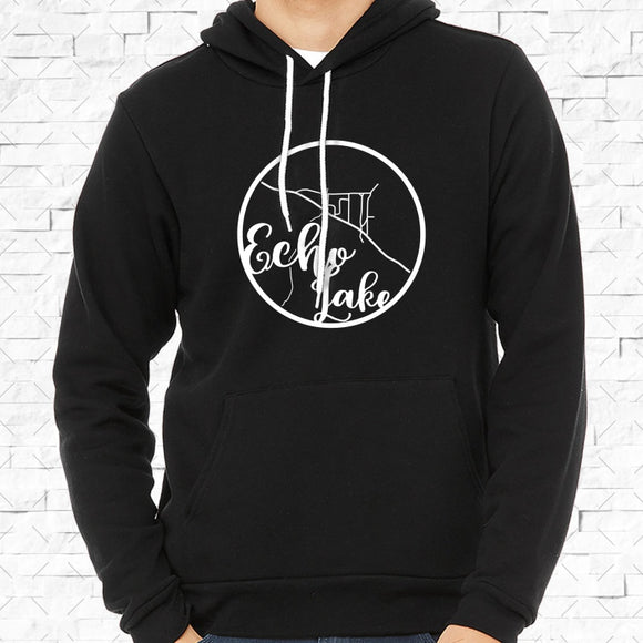 adult-sized black hoodie with white Echo Lake hometown map design