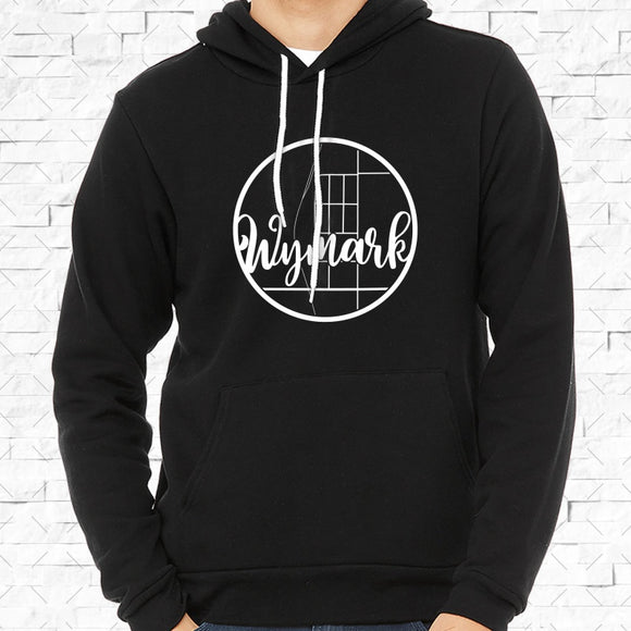 adult-sized black hoodie with white Wymark hometown map design