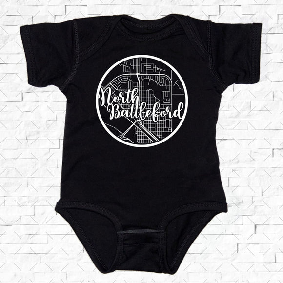 baby-sized black short-sleeved onesie with North Battleford hometown map design